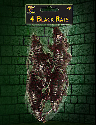 Set Of 2 Packets Of Black Sewer Rats Halloween Party Accessory - 8 Rats In Total