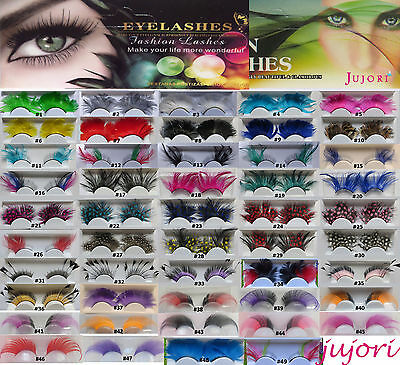 Fashion Glamorous Feather False Eyelashes Lashes - 49 Styles - Party Makeup