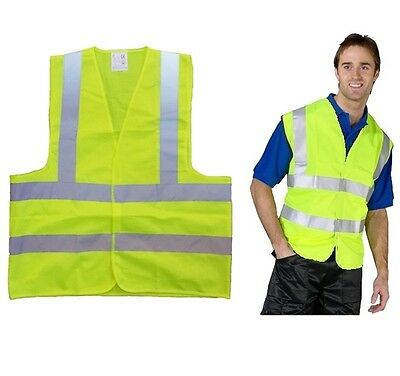 Large Hi Viz Neon Yellow Fluorescent Velcro Safety Vest Reflective Flash Strips
