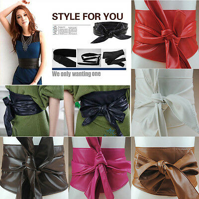 Women's Lady PU Leather Wrap Around Tie Wide Waistband Corset Cinch Belts Band