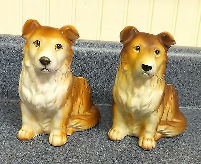 PAIR OF VINTAGE JAPAN NAPCOWARE COLLIE SHELTIE DOGS 6717 PLANTERS (2 PLANTERS)