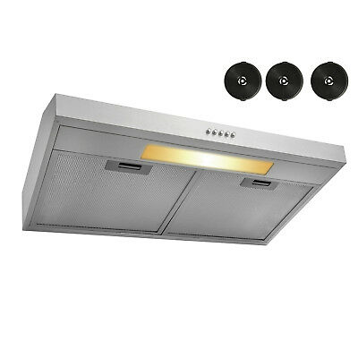 "30"" Under Cabinet Stainless Steel Push Button Control Range Hood w Grease Filter"