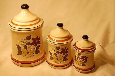Vintage Ceramic Canisters Flower Pattern Three Piece Set with Lids