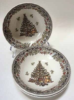 3 Queen's Season's Greetings Myott Factory Christmas Tree Soup Cereal Bowls