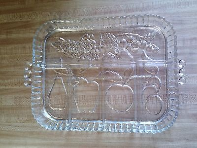 Indiana Glass 5 part divided clear glass tray - fruit pattern