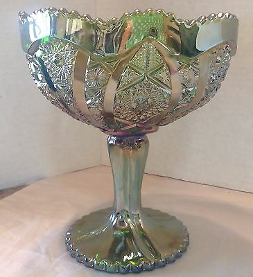 Iridescent Gold Green Carnival glass, footed Compote star-burst daisy Candy Dish
