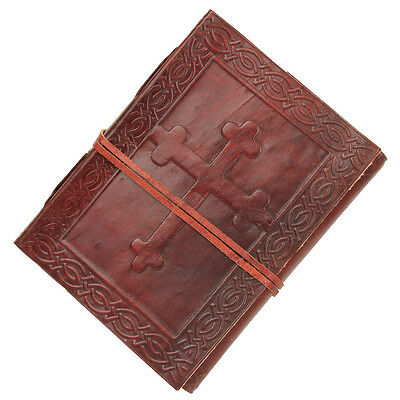 Angelic Celtic Cross Embossed Handmade Leather Journal Diary Writing Book