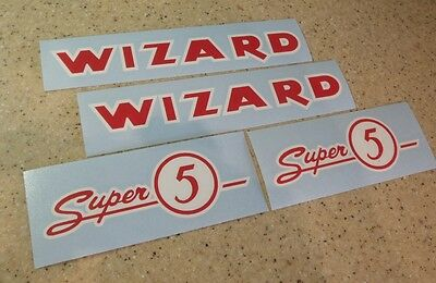Wizard Super 5 Vintage Outboard Motor Decal Kit FREE SHIP + FREE Fish Decal!