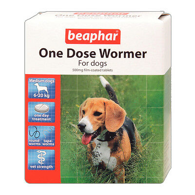 Beaphar Dog Worming Tablets One Dose Wormer Tablets for Puppies & Dogs 2 Pack