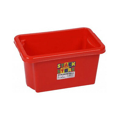 Stack & Store Stackable Strong Plastic Storage Boxes 6.5L Red Toys. Craft Tools