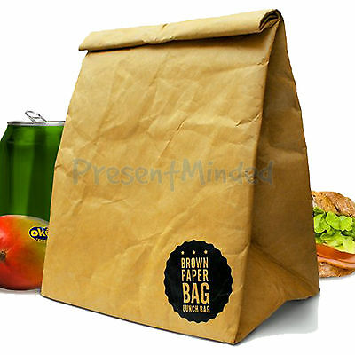 Brown Paper Bag Insulated Lunch Bags | Tough Packed Lunchbox Box Retro Gift Idea