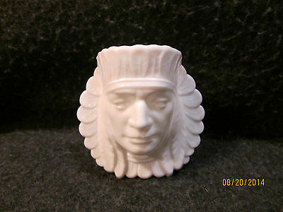 PISELLO ART MILK GLASS FIGURAL INDIAN CHIEF MATCH/TOOTH PICK HOLDER * NICE*