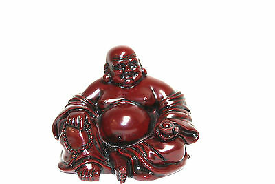 Chinese Oriental Red Resin Lucky Buddha (B) - Good Luck, Wealth & Happiness