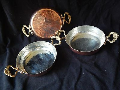Vintage Copper Serving Bowl Plate Gold Colored Handle Tinned  Lot of 3