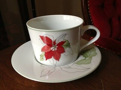 Block Spal China POINSETTIA pattern-CUP & SAUCER-MINT CONDITiON-INSURED-5 avail