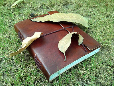 handmade leather journal vintage look plain brown sketchbook blank diary  8 x 6