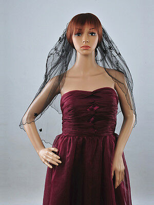 2T Black Elbow Length Bridal Wedding Veil Gothic with Flower and Pearl