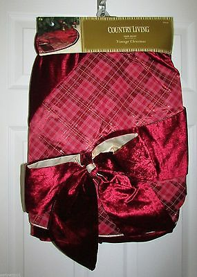 """Country Living Tree Skirt Burgundy Plaid with Large Bow Gold Accent 48"""" Round"""