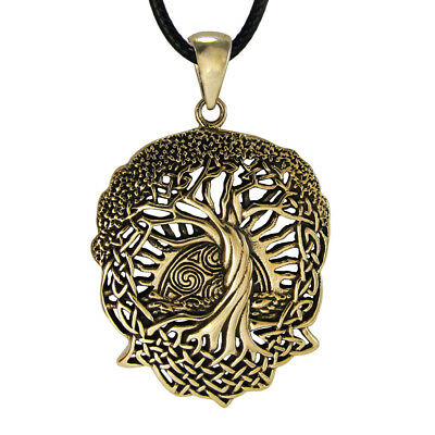 BronzeCeltic Knot World Tree of Life Pendant with Rising Sun Knotwork Necklace