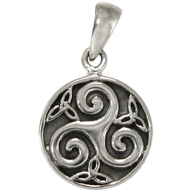 Sterling Silver Celtic Knot Triskele Triskelion Pendant Jewelry Irish Knotwork