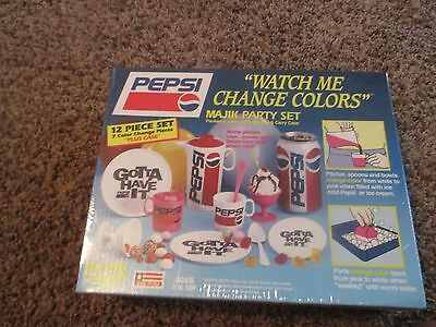 NEW vintage PEPSI 12-pc WATCH ME CHANGE COLORS cups MAJIK PARTY SET pitcher RARE