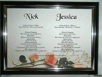 Couples Names Scroll Personalised Engagement Gift Wedding Anniversary