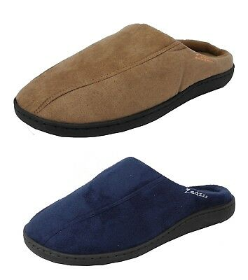 4f3283d236c6 Mens Zedzzz Micro Suede Warm Fleece Lined Mules Slippers Blue Brown Sizes  6-12