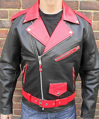 Mens Red & Black Motorcycle Motorbiker Brando Perfecto Classic Leather Jacket
