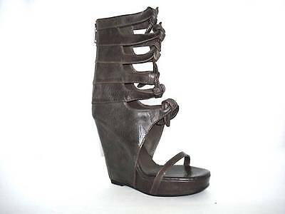 RICK OWENS Womens Brown Leather Knot Open Boot High-Heel Wedge Sandal 6-36 95aeb01f0