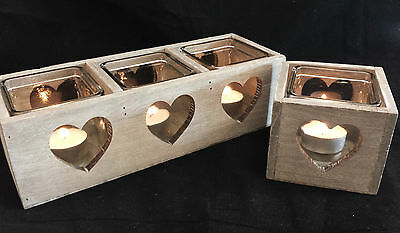 Rustic Wood Candle Holder Lantern Heart Detail Country Chic WeddingT light Tea