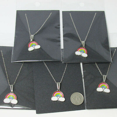 5 Enamel Rainbow Necklaces ~ Jewellery Job Lots Gifts Party Bag Fillers UK