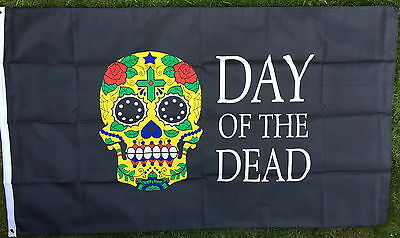 Mexican Day of the Dead Flag Sugar Skulls Restaurant Mexico Hispanic Catholic bn