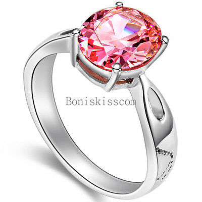 Pink Cubic Zirconia CZ Stainless Steel Engagement Ring Ladies Love Promise Gifts