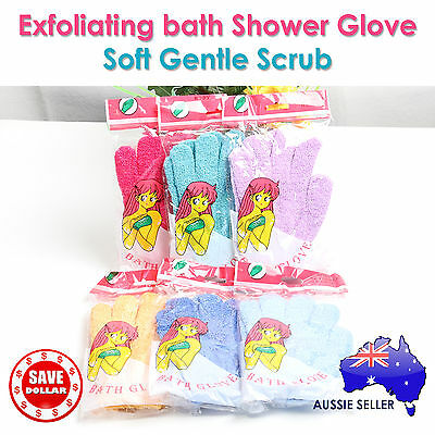 1 Pair Exfoliating Bath Wash Shower Massage Loofah Glove Mitten Scrub Towel
