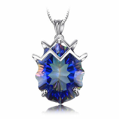 LUXURY 21ct Genuine Fire Rainbow Coated Quartz Pendant 925 Sterling Silver