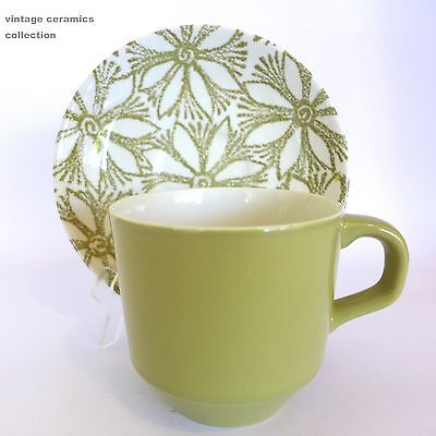 3 Vintage 1960s/70s CROWN LYNN POTTERIES NZ CLEMATIS Duos Cups Saucers Green