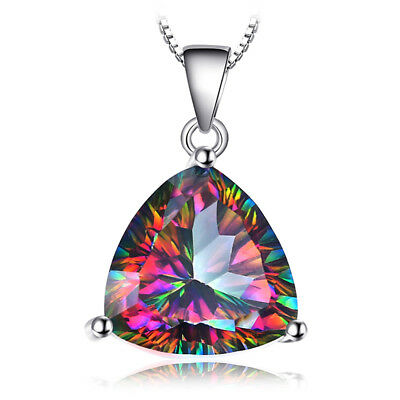 JewelryPalace Triangle 5ct Fire Rainbow Coated Quartz Pendant 925 SterlingSilver