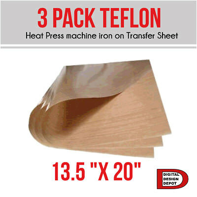 "3 Pack Teflon Sheet For 13.5 ""x 20""  Heat Press machine iron on Transfer Sheet"