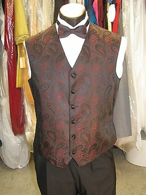 Mens Formal Vest Red Paisley Size M Matching Bow Tie