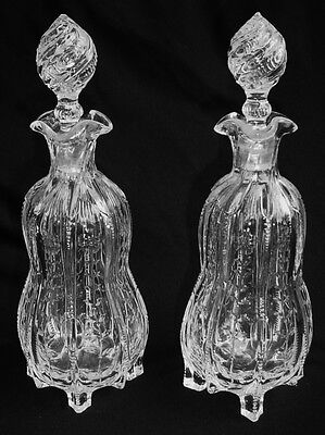 2 English Stourbridge? Rock Crystal Style Footed Decanters RARE & INCREDIBLE!