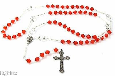 """Red 39"""" Crystal Beaded Jesus Rosary Cross Pendant Guadalupe Charm"""
