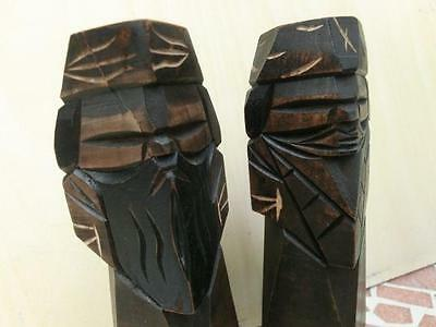 Pair of Japanese Vintage Wood Carving HOKKAIKO AINU Doll 12.2cm Mingei Japan C