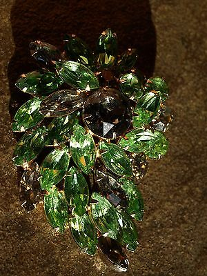 Vintage Weiss Brooch Smoky and Green Rhinestones Gold Colored Metal