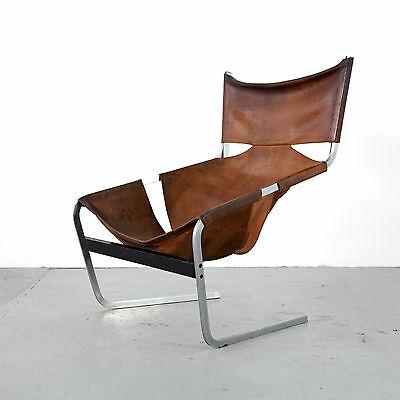 Mid Century Leather Lounge Chair 444 by Pierre Paulin - Artifort | Leder Sessel