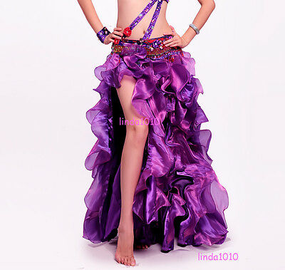 New Professional Belly Dance Costume Waves Skirt Dress with slit Skirt 7 Colors