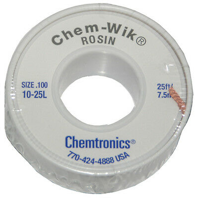 Chemtronics 10-25L 25' Solder Wic Wick Braid For Solder Removal from Circuits