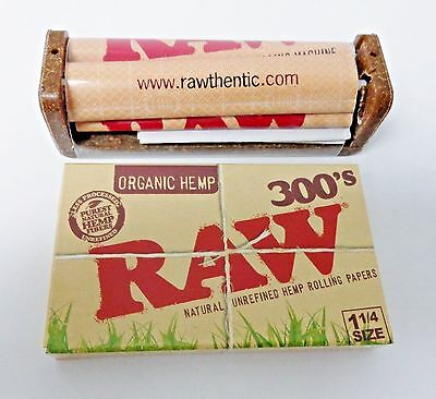 RAW 300's Hemp Rolling Papers + RAW 79mm Hemp Plastic Roller **Free Shipping**