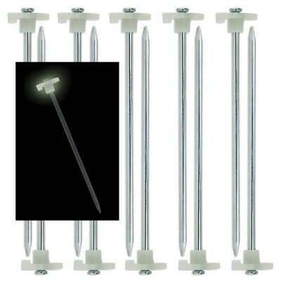 10pk GLOW IN THE DARK Tent Stakes Pegs Heavy Duty Steel Metal Camping Tarp Long