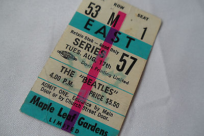 BEATLES Original 1965 CONCERT Ticket STUB - Maple Leaf Gardens