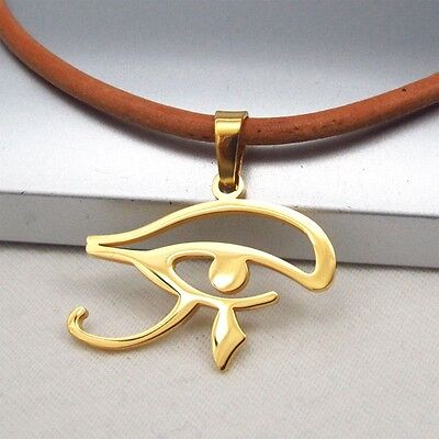 Gold Egypt Eye Of Horus Egyptian Stainless Steel Pendant Brown Leather Necklace